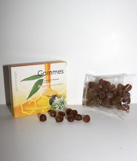 Gomme de propolis pure, miel et eucalyptus